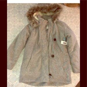NWT girls old navy hood fleece gray coat size 8